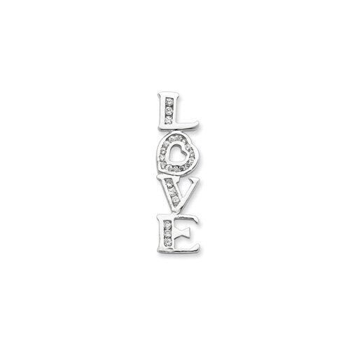 Jewelryweb Sterling Silver CZ Love Pendant