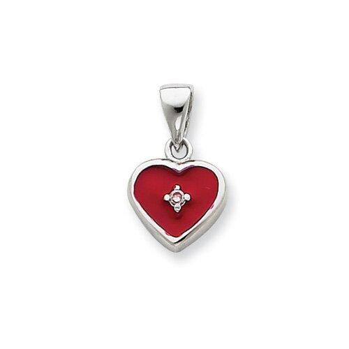 Jewelryweb Sterling Silver CZ Red Enamel Heart Pendant