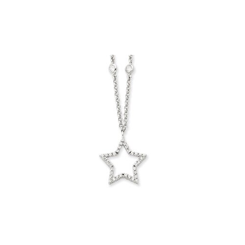 Jewelryweb Sterling Silver CZ Star Necklace - 16 Inch- Spring Ring