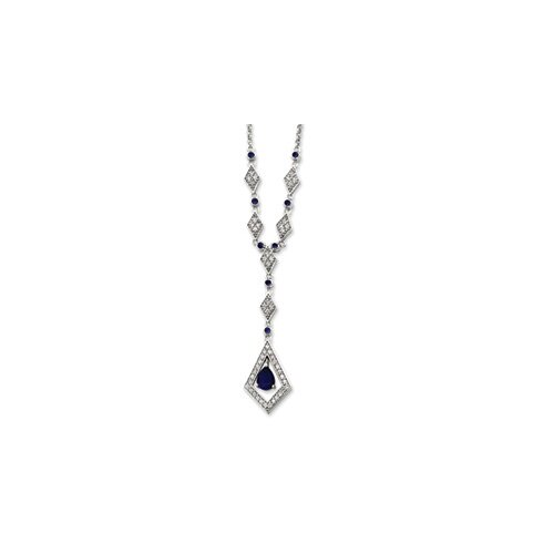 Sterling Silver Dark Blue Glass CZ Drop Necklace - 16 Inch- Spring Ring