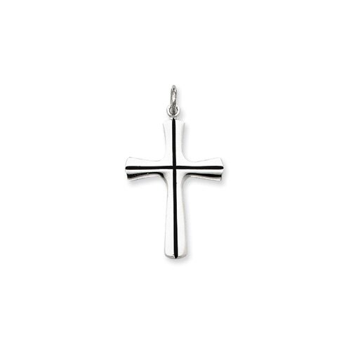 Jewelryweb Sterling Silver Enamel Cross Pendant