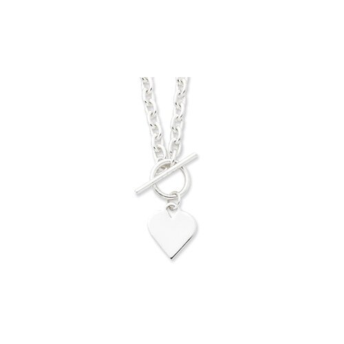 Jewelryweb Sterling Silver Engraveable Heart Toggle Necklace - 18 Inch