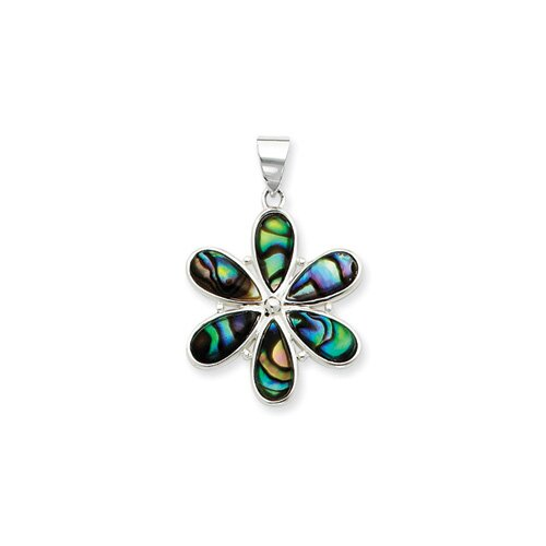 Jewelryweb Sterling Silver Flower Abalone Pendant