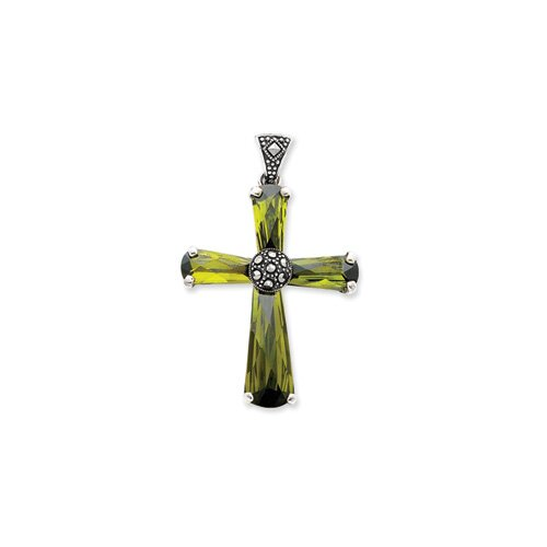 Jewelryweb Sterling Silver Green CZ and Marcasite Cross Pendant