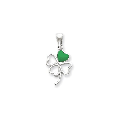 Jewelryweb Sterling Silver Green Enameled Four Leaf Clover Pendant