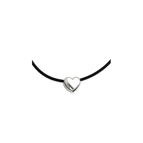 Sterling Silver Heart Black Rubber Necklace - 16 Inch- Lobster Claw