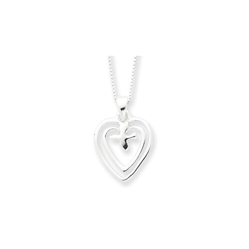 Sterling Silver Hearts With Dove Necklace - 18 Inch- Spring Ring