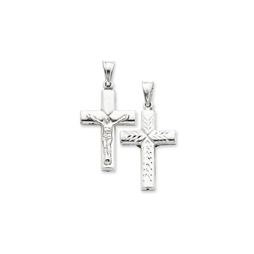 Jewelryweb Sterling Silver Hollow Latin Crucifix Pendant
