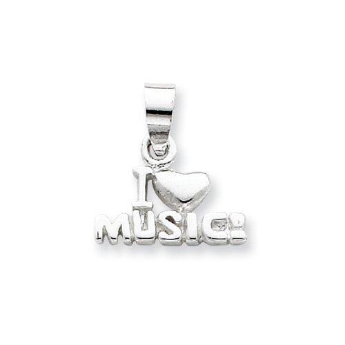 Jewelryweb Sterling Silver I Love Music Pendant