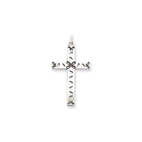 Jewelryweb Sterling Silver Laser Designed Cross Pendant