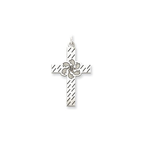 Jewelryweb Sterling Silver Laser Designed Cross Pendant