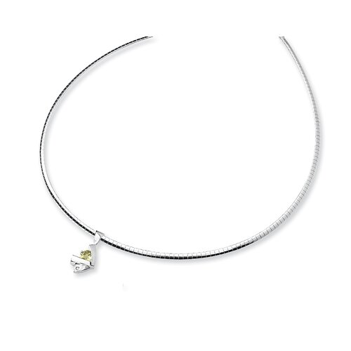 Sterling Silver Lemon Quartz and Diamond Slide Necklace