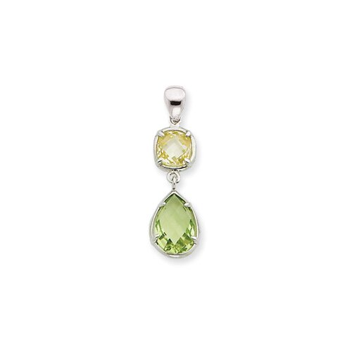 Jewelryweb Sterling Silver Light Green and Yellow CZ Pendant