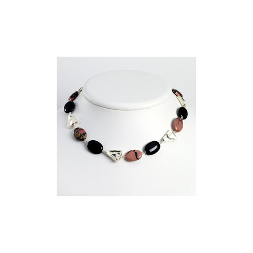 Jewelryweb Sterling Silver Onyx Rhondonite Necklace - 18 Inch- Lobster Claw