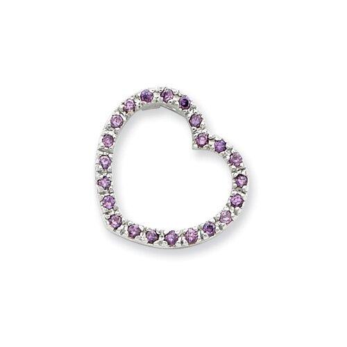 Jewelryweb Sterling Silver Purple CZ Heart Pendant