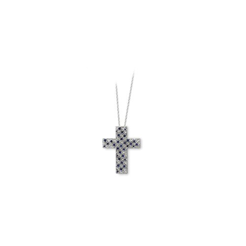 Sterling Silver September CZ Cross Necklace - 18 Inch