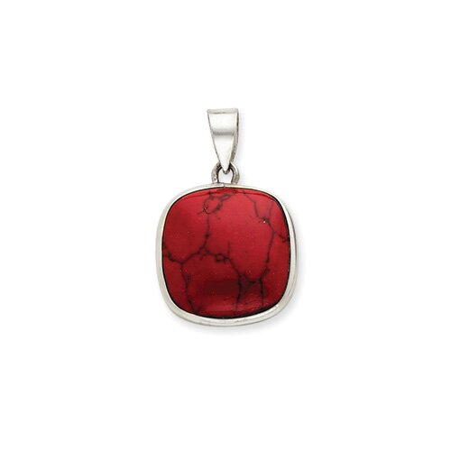 Jewelryweb Sterling Silver Square Red Stone Pendant
