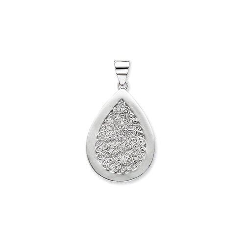 Jewelryweb Sterling Silver Teardrop Swirls Pendant