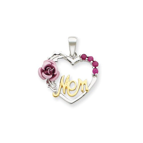 Sterling Silver Vermeil Pink Flower and CZ Mom Pendant
