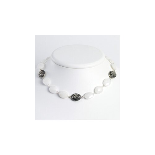 Jewelryweb Sterling Silver White Jade Antiqued Necklace - 16 Inch- Lobster Claw