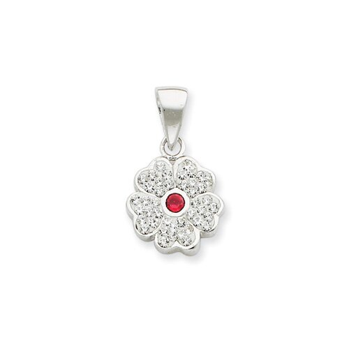 Jewelryweb Sterling Silver With swarovski Crystal Flower Pendant