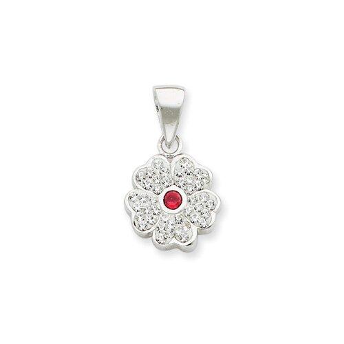 Jewelryweb Sterling Silver With swarovski Crystal Flower Pendant