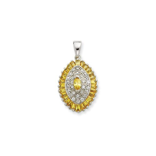 Jewelryweb Sterling Silver Yellow and Clear CZ Pendant