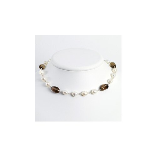Jewelryweb Sterling White Cultured Pearl Smokey Quartz Necklace - 16 Inch- Lobster Claw