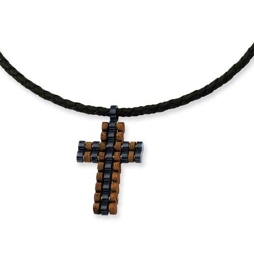 Jewelryweb Stls Steel Wood Blk Color IP-plated Cross Necklace 18 In