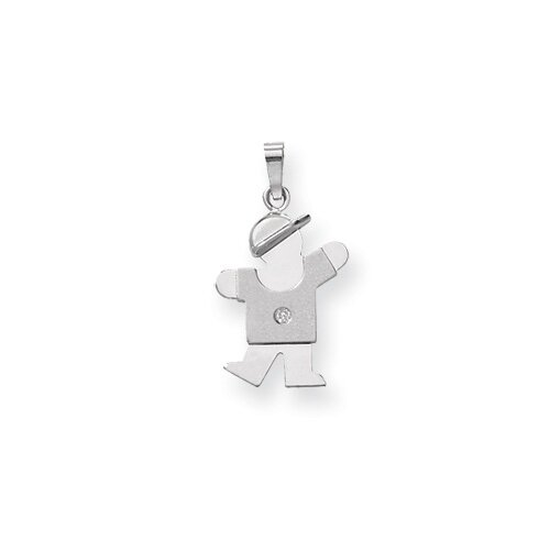 14k White Gold Diamond kid pendant