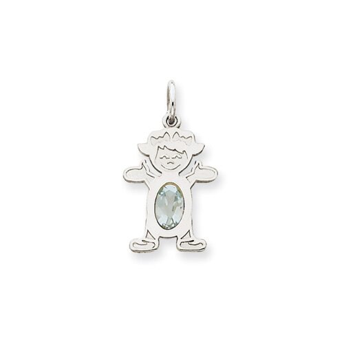 14k White Gold Girl 7x5 Oval Genuine Aquamrine March Birthstone Pendant