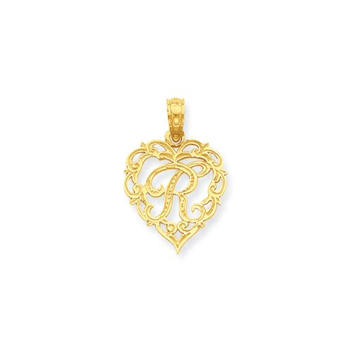 Jewelryweb 14k R Script Initial in Heart Pendant