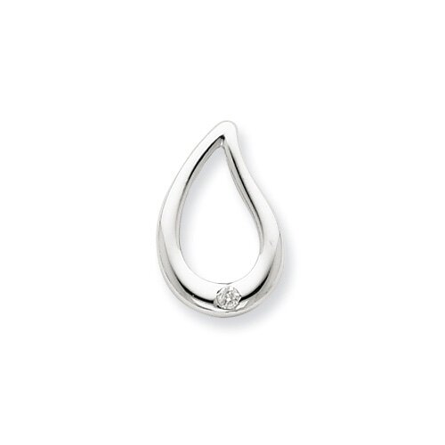 Sterling Silver Rhodium Diamond Teardrop Pendant