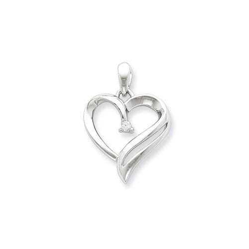 Jewelryweb Sterling Silver Diamond Heart Pendant