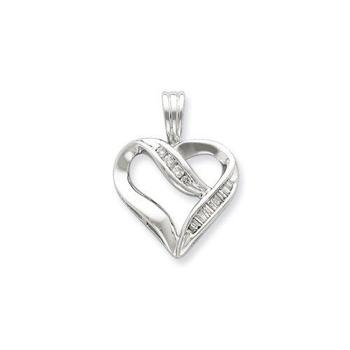Jewelryweb Sterling Silver Diamond Heart Pendant