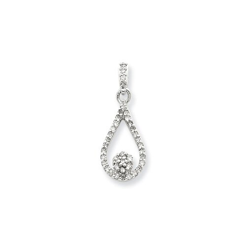Sterling Silver Diamond Teardrop Pendant