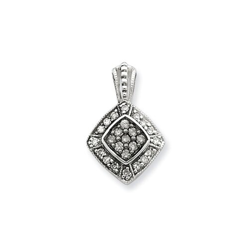 Jewelryweb Sterling Silver Black and White Diamond Pendant