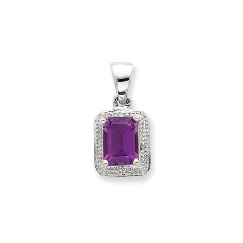 Jewelryweb Sterling Silver Rhodium Emerald-cut Amethyst and Diamond Pendant