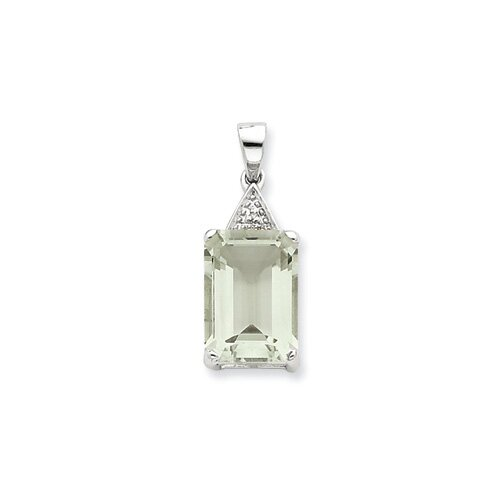 Jewelryweb Sterling Silver Emerald-cut Green Amethyst and Diamond Pendant