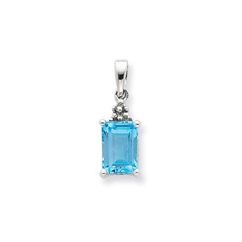 Jewelryweb Sterling Silver Rhodium Lt Sw Blue Topaz and Diamond Pendant