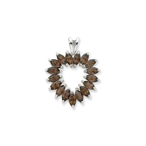 Jewelryweb Sterling Silver Rhodium Marquise Smokey Quartz Heart Pendant