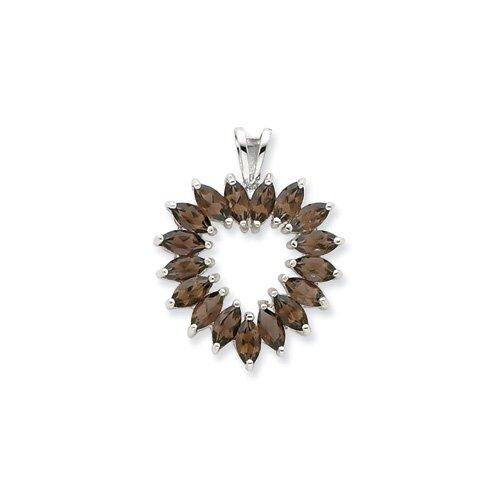 Sterling Silver Rhodium Marquise Smokey Quartz Heart Pendant