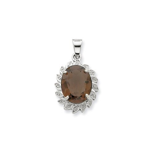 Jewelryweb Sterling Silver Rhodium Smokey Quartz and Diamond Pendant
