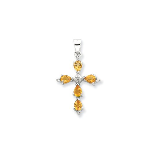 Sterling Silver Rhodium Pear Citrine Cross Pendant