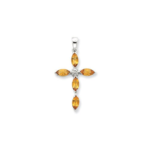 Jewelryweb Sterling Silver Rhodium Citrine and Diamond Cross Pendant