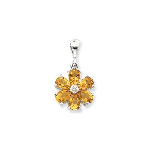 Sterling Silver Rhodium Citrine and Diamond Flower Pendant
