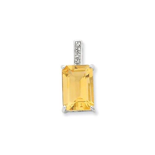 Jewelryweb Sterling Silver Rhodium Emerald-cut Citrine and Diamond Pendant