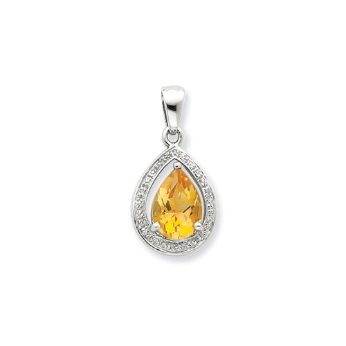 Jewelryweb Sterling Silver Rhodium Citrine and Diamond Pendant