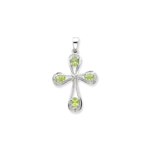 Jewelryweb Sterling Silver Rhodium Peridot and Diamond Cross Pendant