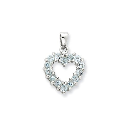 Jewelryweb Sterling Silver Rhodium Aqua Heart Pendant